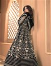 photo of Shamita Shetty Sangeet Wear Net Fabric Embroidered Anarkali Dress In Black Color