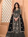 image of Shamita Shetty Sangeet Wear Net Fabric Embroidered Anarkali Dress In Black Color