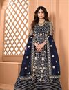 image of Shamita Shetty Net Fabric Navy Blue Color Sangeet Wear Embroidered Long Anarkali Suit
