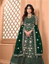 image of Shamita Shetty Green Color Sangeet Wear Embroidered Anarkali Dress In Net Fabric
