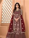 image of Shamita Shetty Sangeet Wear Maroon Color Net Fabric Embroidered Long Anarkali Suit