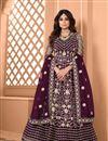 image of Shamita Shetty Sangeet Wear Embroidered Wine Color Anarkali Dress In Net Fabric