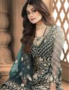photo of Shamita Shetty Net Fabric Sangeet Wear Embroidered Teal Color Long Anarkali Suit