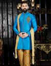 image of Function Wear Mens Fancy Kurta Pyjama In Sky Blue  Color