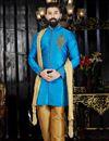 image of Wedding Special Wedding Wear Mens Kurta Pyjama Set In Sky Blue  Color