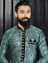 photo of Wedding Special Fancy Embroidered Mens Kurta Pyjama In Cyan Color
