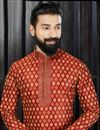 photo of Designer Embroidered Mens Kurta Pyjama In Maroon Color