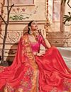 photo of Red Embroidery Designs On Art Silk Wedding Wear Saree With Fancy Blouse