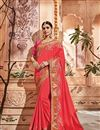 image of Red Embroidery Designs On Art Silk Wedding Wear Saree With Fancy Blouse