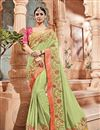 image of Emboirdery Work On Art silk Sea Green Party Wear Saree With Amazing Blouse