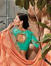 photo of Art silk Orange Function Wear Saree With Embroidery Work And Astounding Blouse