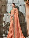 image of Art silk Orange Function Wear Saree With Embroidery Work And Astounding Blouse