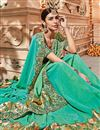 photo of Art silk Party Wear Saree In Cyan With Embroidery Work And Beautiful Blouse