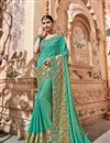 image of Art silk Party Wear Saree In Cyan With Embroidery Work And Beautiful Blouse