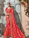 image of Embroidery Work On Reception Wear Saree In Rani Art silk Fabric With Charming Blouse