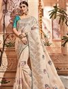 image of Embroidery Work On Chikoo Art Silk Designer Saree With Alluring Blouse