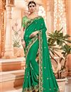 image of Embroidery Work On Dark Green Party Wear Saree In Art Silk Fabric With Ravishing Blouse