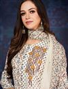 photo of Casual Style Printed Cotton Anarkali Suit In Chikoo Color With Thread Work