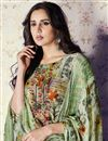 photo of Printed Art Silk Mehendi Green Color Palazzo Suit With Work