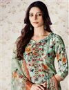 photo of Sea Green Art Silk Printed Palazzo Suit With Work