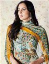 photo of Printed Aqua Color Art Silk Palazzo Suit With Work