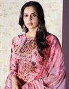 photo of Art Silk Pink Printed Palazzo Suit With Work