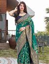 image of Teal Color Puja Wear Art Silk Fabric Designer Weaving Work Saree