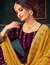 photo of Purple Color Party Style Embroidered Georgette Fabric Sharara Dress