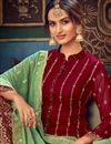 photo of Party Style Georgette Fabric Maroon Color Embroidered Sharara Suit