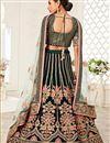 photo of Dark Green Color Velvet Fabric Sangeet Wear Embroidered Lehenga Choli
