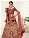 image of Red Color Reception Wear Velvet Fabric Embroidered Lehenga Choli
