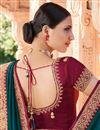 photo of Wedding Wear Teal Color Fancy Art Silk Fabric Border Work Saree