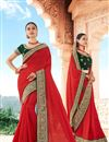 image of Red Color Reception Wear Fancy Art Silk Fabric Border Work Saree