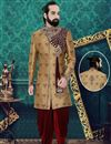 image of Light Brown Color Brocade Fabric Weding Wear Readymade Mens Indo Western