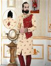 image of Peach Color Brocade Fabric Reception Wear Readymade Mens Indo Western