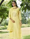 image of Cotton Fabric Festive Wear Fancy Printed Palazzo Salwar Suit In Yellow Color