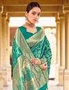 photo of Party Wear Art Silk Fabric Weaving Work Saree In Cyan Color