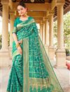 image of Party Wear Art Silk Fabric Weaving Work Saree In Cyan Color