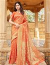 image of Art Silk Fabric Sangeet Wear Orange Color Weaving Work Saree
