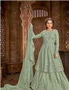 image of Sea Green Color Chic Embroidered Festive Wear Sharara Top Lehenga In Net Fabric