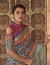 photo of Party Wear Art Silk Fabric Printed Saree In Navy Blue Color