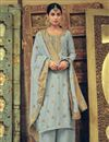 image of Art Silk Fabric Wedding Wear Weaving Work Palazzo Suit In Grey Color