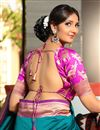 photo of Teal Weaving Work On Art Silk Wedding Wear Saree With Blouse