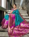 image of Teal Weaving Work On Art Silk Wedding Wear Saree With Blouse
