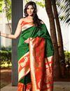 image of Dark Green Art Silk Function Wear Saree With Weaving Work