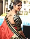 photo of Art Silk Salmon Color Designer Saree With Weaving Work And Blouse