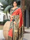 image of Art Silk Salmon Color Designer Saree With Weaving Work And Blouse