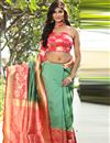 image of Art Silk Sea Green Party Wear Saree With Weaving Designs And Blouse