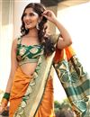 photo of Weaving Designs On Orange Art Silk Fucntion Wear Saree With Blouse