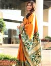 image of Weaving Designs On Orange Art Silk Fucntion Wear Saree With Blouse